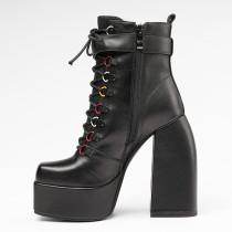 Arden Furtado 2021 Winter Fashion Women's Shoes Waterproof Chunky Heels Zipper Cross Lacing Concise Black Women's Boots 40
