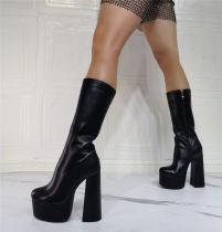 Arden Furtado 2021 Winter Fashion Boots Elegant Zipper Platform Ankle Boots Chunky Heels Block heels Ladies Shoes Size 43 44 45