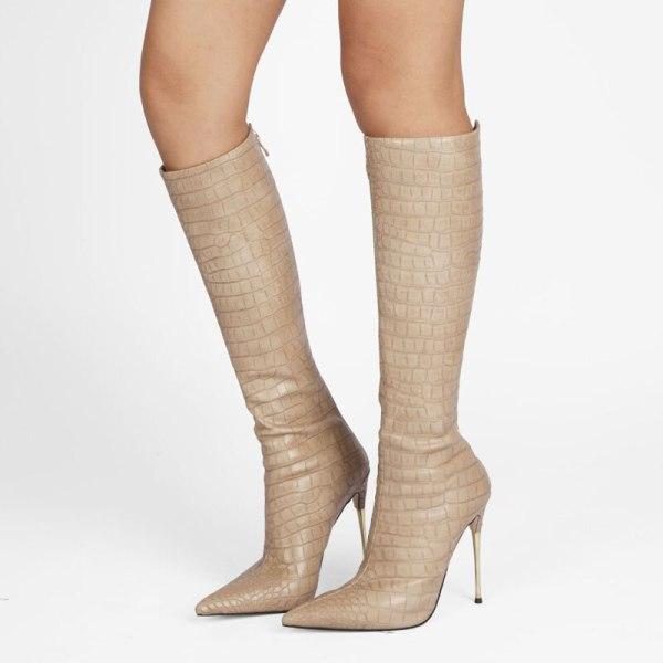 Arden Furtado spring autumn Winter Zipper Boots Shoes Elegant Apricot Knee High Boots Stilettos Dancing Shoes