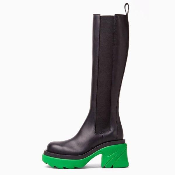 Arden Furtado 2021 Winter Fashion Boots Elegant Platform Chunky Heels Block heels Ladies Shoes platform Knee High Boots 40 41
