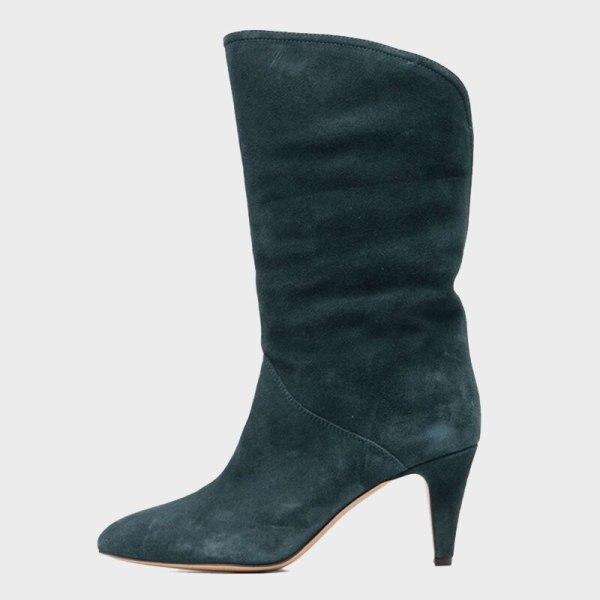 Arden Furtado 2021 Fashion Women's Shoes Pointed Toe Stilettos Heels Elegant Pleated Green Apricot  Knee High Boots 42 43