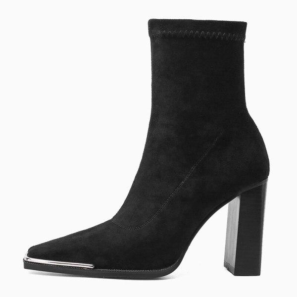 Arden Furtado 2021 Fashion Women's Shoes Chunky Heels  Elegant Boots Grey Square Head Short Boots 45