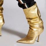 Arden Furtado 2021 Fashion Women's Shoes Pointed Toe Stilettos Heels Elegant Pleated Gold Leopard Print Knee High Boots 42 43
