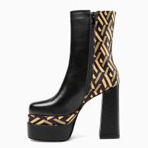 Copy Arden Furtado Winter Fashion Round head Chunky heels Women's Shoes Black Waterproof Ankle boots Big Size 43