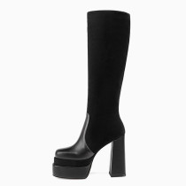 Arden Furtado Winter Fashion Round head Chunky heels Women's Shoes Black Waterproof Knee High Boots Big Size 43