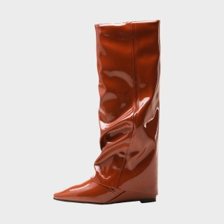 Arden Furtado spring autumn Winter Boots Shoes Elegant Knee High Boots Brown Green  Pointed Toe Zipper Wedges 41 42 43