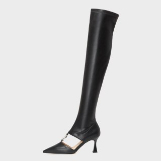 Arden Furtado 2021 Fashion Women's Shoes Pointed Toe Stilettos Heels Elegant Boots Red White Over The Knee High Boots 42 43