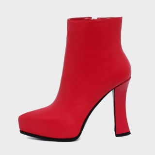 Arden Furtado Fashion Women's Shoes Winter Sexy New Red White Pointed Toe Genuine Leather Short Boots Chunky Heels 33 40 41