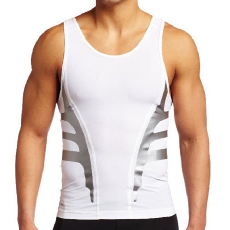 Men's Soft Slim Dry-Fit Compression Gym Trainning Shirt White KL722220