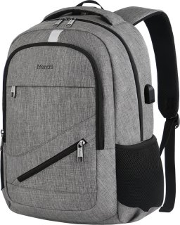 Travel Laptop Backpack, Mancro Anti Theft Durable College School Bag with USB Charger Port Fit Up To 17  Laptop, Slim Business Water Resistent Lightweight Daypack for Macbook Computer Men Women(Grey)