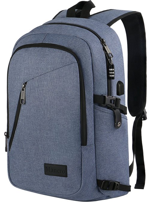 Travel Backpack for Men, Anti Theft Laptop Backpack W/USB Port, Lightweight Slim College School Backpack, Water Resistant Sturdy Carry On Rucksack for Work Campus Fit 15.6  Computer (Bleached Denim)