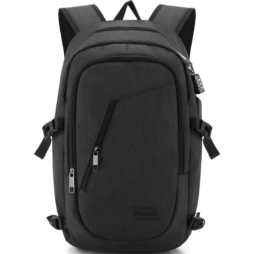 Business Laptop Backpack, 15 15.6 Inch College Backpacks / USB Charging Port, Anti-theft Lightweight Travel Bag for Women & Men, Fits UNDER 17 Laptop / Computer (Black)