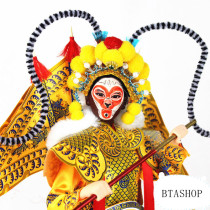 Beijing Opera Monkey King and Muguiying silk figurine