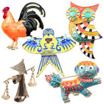 Restore ancient style cloisonne Chinese nationality kite,lion,owl,porter,rooster , brooch and ancient pavilion.
