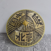 Purely hand made large bamboo rain hat with Beijing China character or Great Wall character