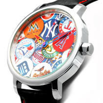 New York Major League Baseball (MLB),sport watch,waterproof stainless steel face and shell,badge wall,leather belt Quartz wristwatch for elite gentlemen