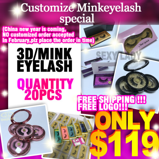 3d/mink human lashes 20pairs 119 free shipping free logo