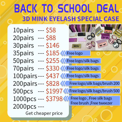 3D/MINK LASH DEAL (12-1000PAIRS) Special Case August Sale