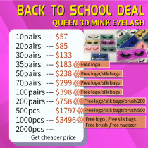 Queen 3D MINK LASH(10-100PAIRS) August Sale with Regular Rectangle case