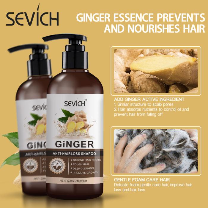 GingerAnti-HairLoss Shampoo Sevich 500ml Anti-Loss Ginger Shampoo Hair loss treatment Anti Hair Loss Shampoo Hair Growth Product Strong hair roots shampoo