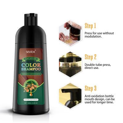 Argan Oil Color Shampoo(4 colors) Sevich 250ml Argan Oil Hair Dye Shampoo Hair Styling Fast Dye Hair Natural Gray White Hair Color Dye Treatment Hair Shampoo