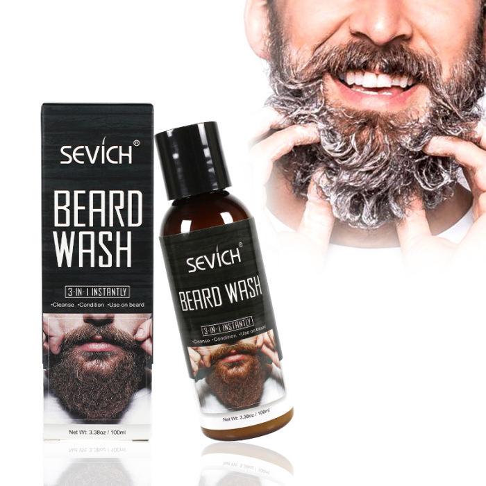 Beard Wash Sevich 100ml Beard Wash for Men Beard Shampoo Mustache Wash Moisturizing Smoothing Gentlemen Beard Care