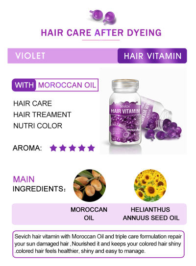 Hair Vitamin(7 colors) Sevich Pro Keratin Complex Oil Hair Vitamin Capsule Oil Silky & Shiny Hair Serum Moroccan Oil Nourishing Hair Oil Repair Damage