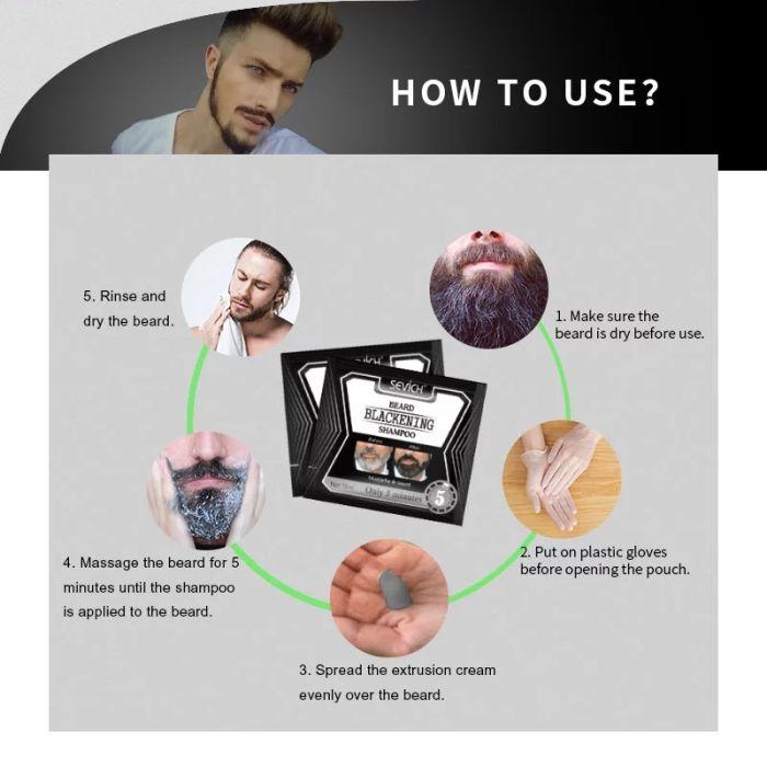 Beard Blackening Shampoo Sevich 5Mins Blackening Beard Shampoo Dye Beard Into Black 15ml Herbal Natural Faster Blackening Beard Coloring Grey Removal