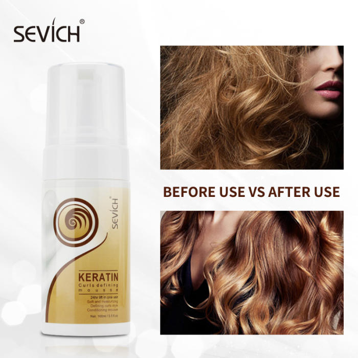 Sevich 100ml 24 Hours Salon Curly Hair Mousse Strong Hold Hair Elastin Define Curly Hair Finishing Anti-Frizz Fixative Foam
