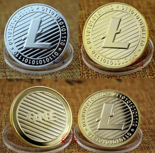 Litecoin Commemorative Collectible Golden Iron Miner Coin Gift XNB10 2 Color Gold/Silver