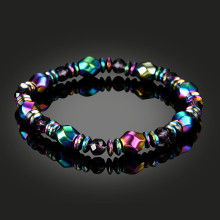 1Pcs Multicolor Magnetic Bracelet Beads Hematite Stone for Therapy Health Care Magnet Hematite Beads Bracelet Men s Jewelry (Color: Multicolor)