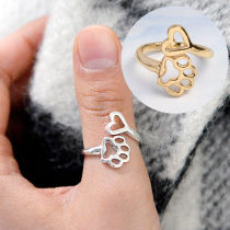 1pc Fashion Heart Pet Dog Paw Ring Open Adjustable Ring Creative Hollow Design