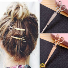 2Pcs Fashion Scissors Shape Hair Clip Gold Silver Hair Pin Women Hair Accessory