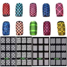 12Tips / Sheet Nail Art Manicure Stencil Stickers Stamping Nail Vinyls Easy Use