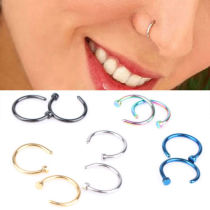 Hot Stainless Steel Jewelry Nose Open Hoop 5pcs Ring Earring Body Piercing Studs