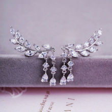 Charm Women Gold Silver Crystal Zircon Leaves Tassel Ear Stud Earrings Jewelry
