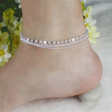 Women Silver Bead Chain Anklet Ankle Bracelet Foot Jewelry Barefoot Sandal Beach