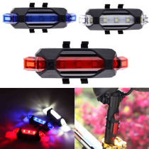 USB Rechargeable 5LED Bicycle Bike Cycling Front Rear Tail Light Modes Lamp Set