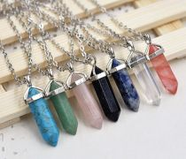 Natural Crystal Gemstone Necklace Pendant Chakra Healing Quartz Point Stone Bead