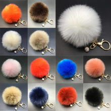 8CM Rabbit Fur Fluffy Pompom Ball Handbag Car Pendant Charm Key Chain Keyrings