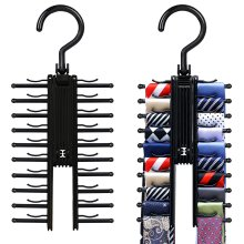 2 PCS Cross X Hangers,IPOW Black Tie Belt Rack Organizer Non-Slip Clips Holder