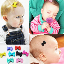 10 PCS Kids Baby Girl's Bow Ribbon Hair Bow Mini Latch Clips Hair Clip Hairpins