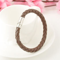 Unisex Men's Genuine Braided Leather Steel Magnetic Clasp Bracelet