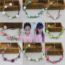 Fashion Rose Flower Head Chain Jewelry Hollow Elastic Hair Band Headband Wedding