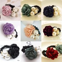 1x Women Lady Satin Ribbon Rose Flower Pearls Hairband Ponytail Holder Hair Band
