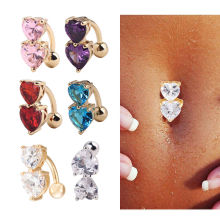 Chic Reverse Crystal Bar Belly Ring Gold Body Piercing Button Navel Two Heart
