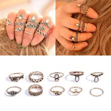 Retro 10Pcs/ Set Silver Gold Boho Stylish Arrow Moon Midi Finger Knuckle Rings