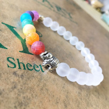 2017 Handmade Jewelry 7 Chakra Natural Stone bracelet Beads Yoga Bangle bracelet Alloy Metal Silver Plated Gift for Women (Color: Multicolor)