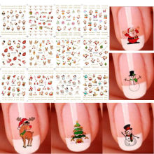 Lovely 12 Sheet Christmas 3D Nail Art Stickers Snowflakes & Snowmen Nail Decals