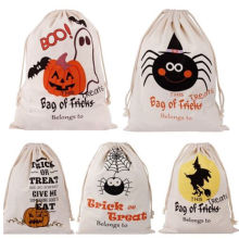 Halloween Pumpkin Canvas Candy Bags Beam Port Drawstring Sack Candy Gift